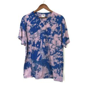 Upcycled Bleached Tie Dye Pink Blue Tee Shirt XL